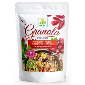 Гранола з екстрактом стевії, ягодами годжі, насінням лоьону та цукатами журавлини