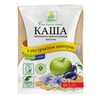 Каша вівсяна з яблуком, сливою й екстрактом цикорію миттєвого приготування