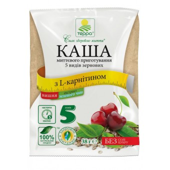 Каша 5 видів зернових з вишнею, L-карнітином і екстрактом зеленого чаю миттєвого приготування
