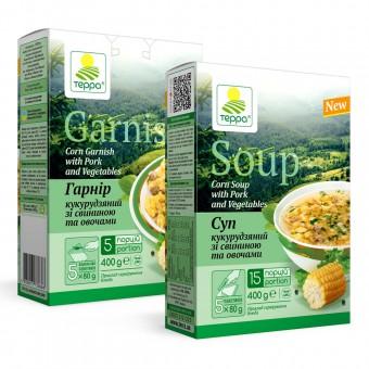 Суп-гарнір кукурудзяний зі свининою та овочами