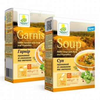 Суп-гарнір пшоняний зі свининою та овочами