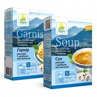 Суп-гарнір рисовий з грибами та овочами